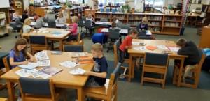 students using robots