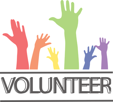 volunteer with pictures of hands raised