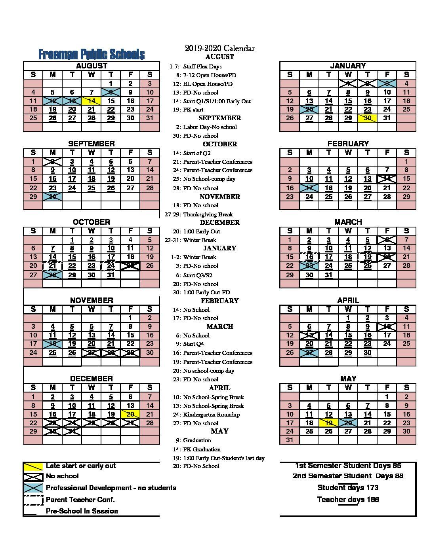 Freeman 2019-2020 District Calendar